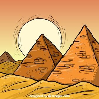 Desenhadas mão pirâmides Egipto