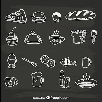 Desenhados à mão menu de comida gráficos