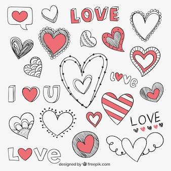 Desenho corações românticos