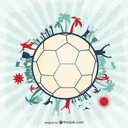 Desenho da bola de futebol jogadores de futebol vetor