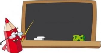 Desenho de lápis dos desenhos animados com óculos e bar ensino