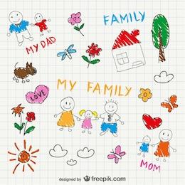Desenho esboço família vetor