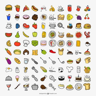 Desenho ícones de cor cozinha
