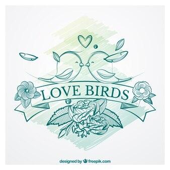 Desenho pássaros do amor