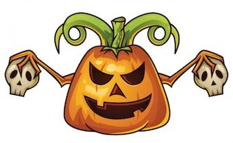 Desenhos animados da abóbora de Halloween com caveiras