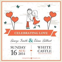 Desenhos animados modelo cartão de casamento casal