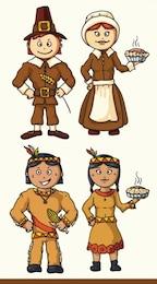 Desenhos animados personagens indianas ilustração