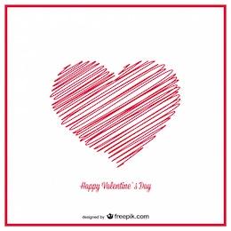Design de cartão corações esboço desenhado mão dos namorados