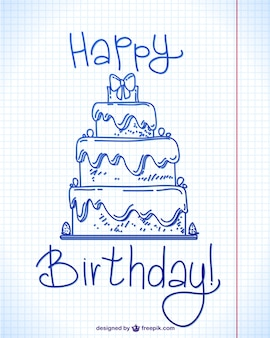 Design feliz aniversário doodle da tinta