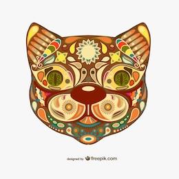 Design floral decorativo gato