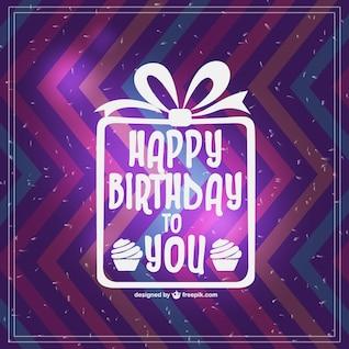 Design retro feliz aniversário cartão do vetor