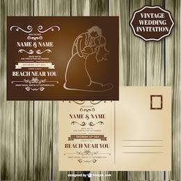 Design retro madeira cartão de casamento