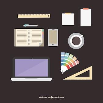 Escritório de designer fornece kit plana