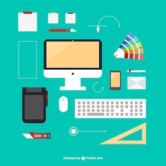 Imagem plana kit escritório do designer