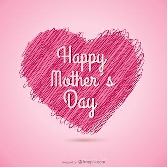 Dia cartão coração esboçado da mãe feliz