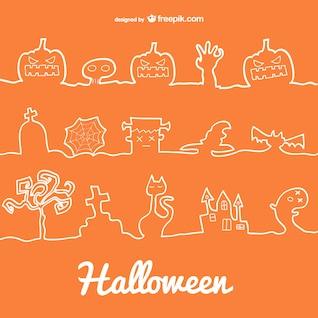 Dia das Bruxas linha de decoração ícones