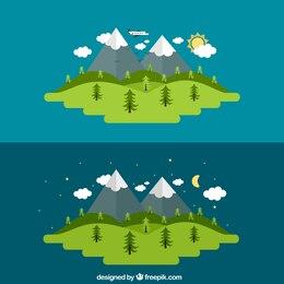 Dia e noite, de uma paisagem rural