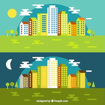 Dia e noite arquitectura da cidade no design plano