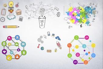 Diagramas com ícones ligados