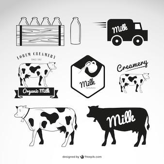 Produtos lácteos logos vector