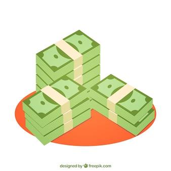 Dinheiro empilhado
