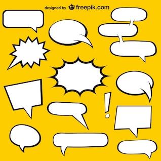Discurso de quadrinhos bolhas elementos livres