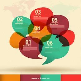 Discurso de uma comunicação bolhas infografia