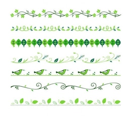 Divisores florais vector set verde