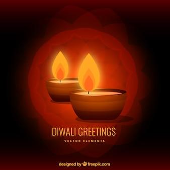 Diwali com duas velas
