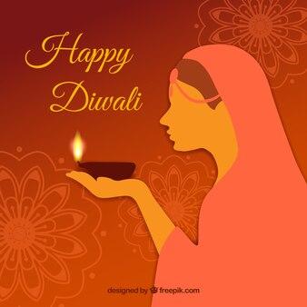 Diwali fundo com a mulher