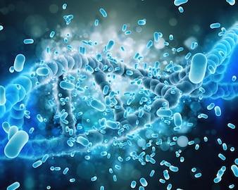 DNA hélice atacadas por bactérias