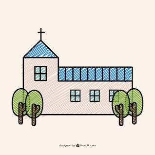 Doodle de uma igreja cristã