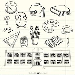 Doodles de material escolar no caderno