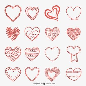 Doodles desenhados mão do coração