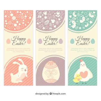 Easter banners no estilo bonito de