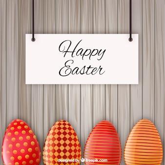 Cartão de Easter com ovos decorados vermelho