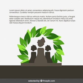 Eco template com fábrica e folhas