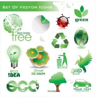 Ecologia tema de ícones conjunto logotipo vecttor