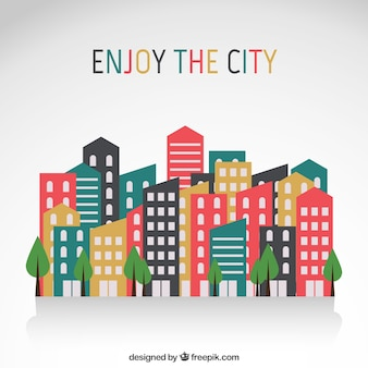Edifícios da cidade em design plano