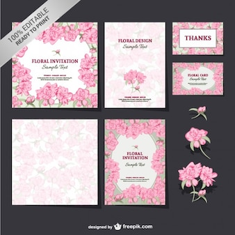 Editável floral conjunto mock-up