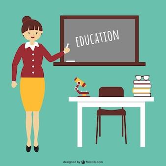 Desenhos animados Educação com o professor