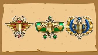 Escaravelhos egípcios ilustração vetorial