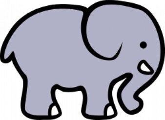 elefante dos desenhos animados 2D