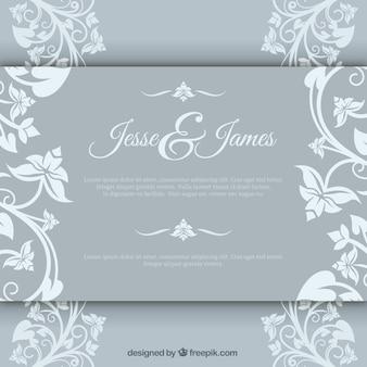 Convite de casamento elegante com brochura floral