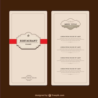 Elegante menu de restaurante