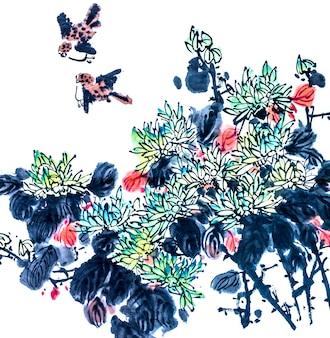 Elemento de fundo beleza gráfico árvore chinesa