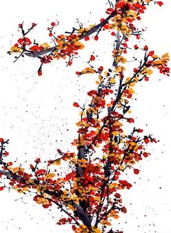 Elemento de pintura china botânica branco tradicional