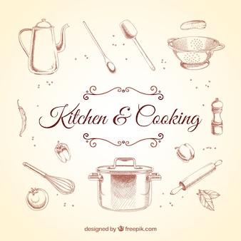 Elementos de cozinha retros