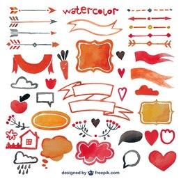 Elementos de decoração Watercolor