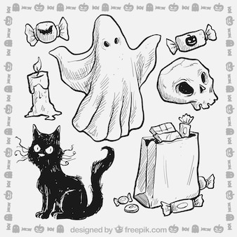 Elementos de Halloween esboçado